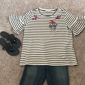 Ann Taylor Loft black and cream striped t-shirt